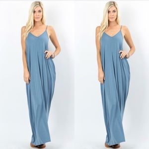Dresses & Skirts - V-Neck Cami Maxi Dress with Side Pockets-Blue Gray